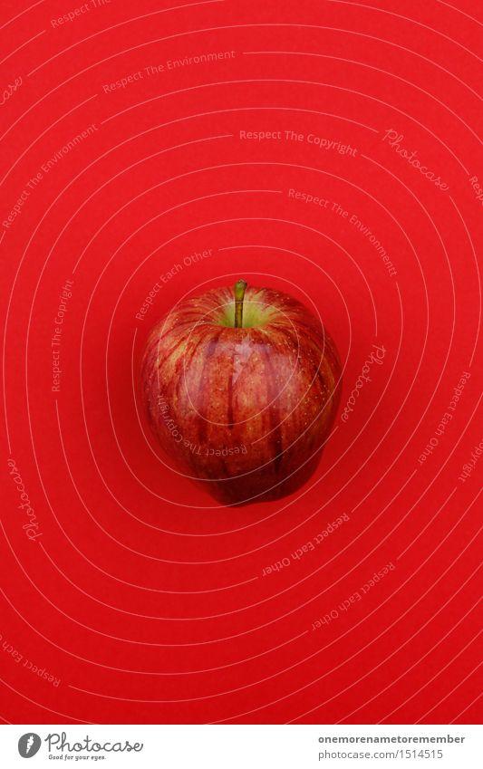 Jammy apple on red Art Work of art Esthetic Apple Tree of knowledge Apple juice Apple skin Apple plantation Gaudy Multicoloured Vitamin-rich Vitamin C Red