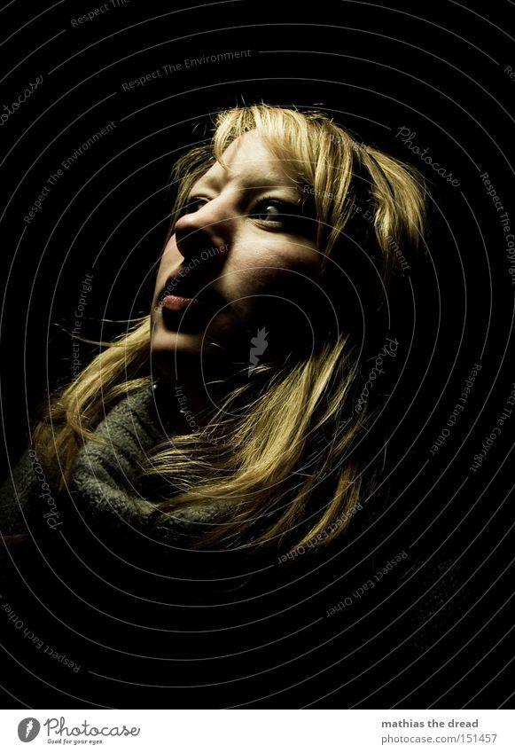 Woman Face Black Loneliness Dark Head Sadness Blonde Grief Dangerous Transience Horror Frightening Scare Negative