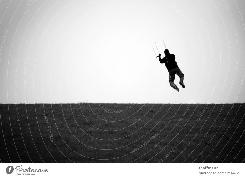 Man Water Meadow Sports Playing Jump Flying Dry Cap Ascending Kiting