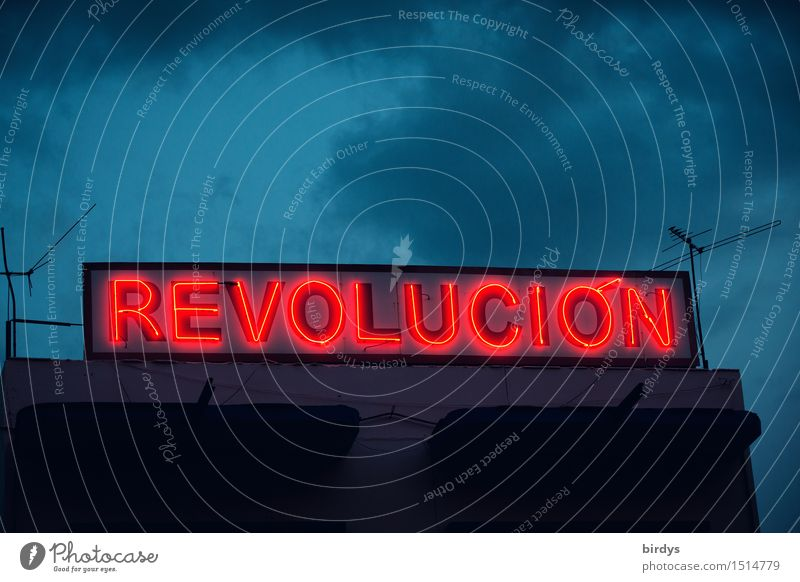 Neon sign Revolucion in Santiago de Cuba at dusk Clouds che Revolution castro Characters Politics and state Night sky House (Residential Structure) Antenna