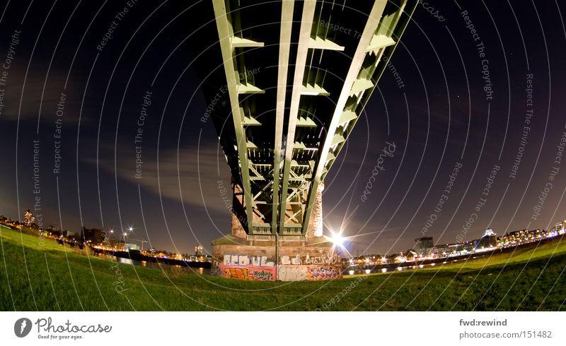 Sky Green City Meadow Stars Star (Symbol) Bridge Logistics Steel River bank Scaffold Night shot