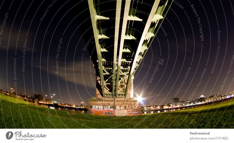 To the land of dreams Town Night Bridge Scaffold Fisheye Steel River bank Logistics Star (Symbol) Stars Sky Meadow Green Light Long exposure Night shot