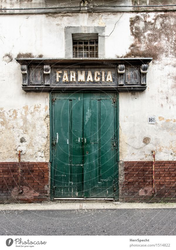 chemist's Italy Naples House (Residential Structure) Manmade structures Building Facade Door Old Historic Gloomy Pharmacy Front door Closed Tumbledown Portal
