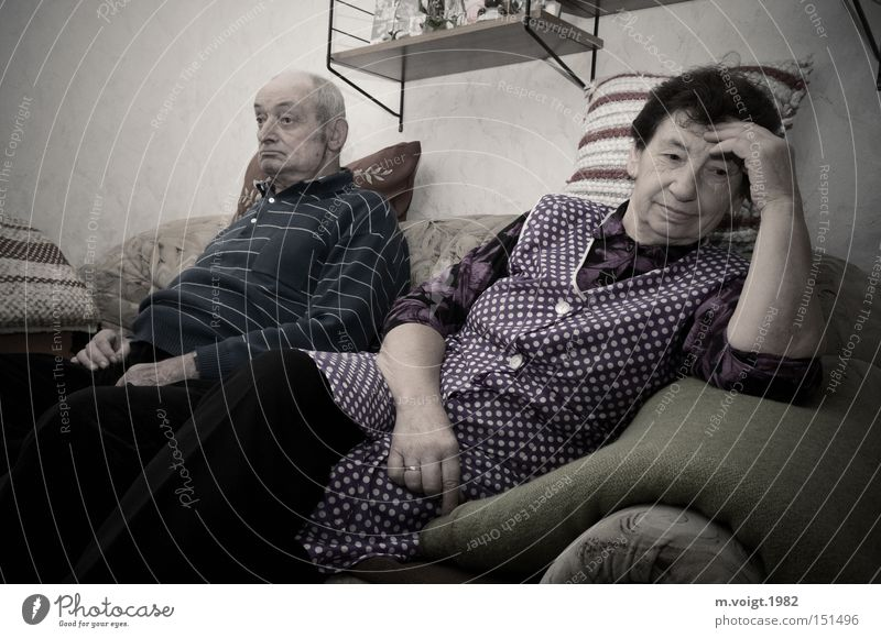 Speechless Couple Old Senior citizen Living room Rustic style room Grandmother Grandfather Aggravation Matrimony Authentic Retro Argument Divorce Frustration
