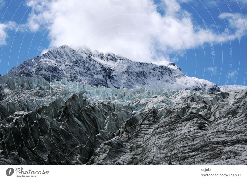 Sky White Blue Winter Clouds Snow Mountain Ice Frost Frozen Glacier New Zealand