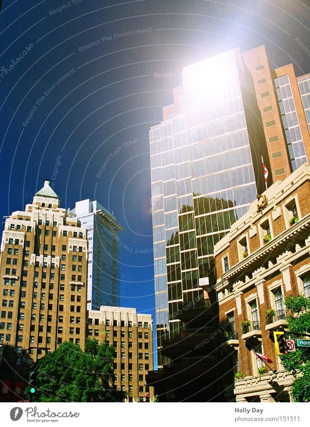 Little Sunshine High-rise Mirror Vancouver Canada Blue sky Old New Town Bright Converse Downtown Reflection Illuminate
