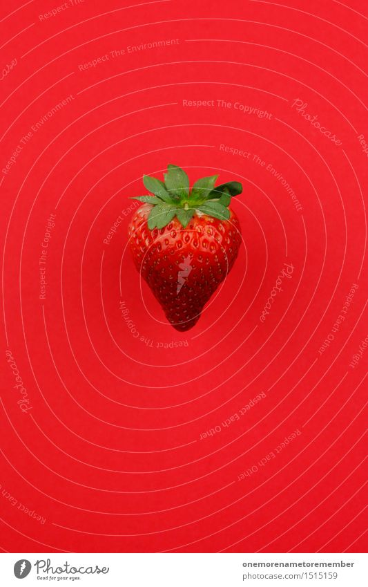 Jammy Strawberry on Red Art Work of art Esthetic Strawberry ice cream Strawberry variety Strawberry shake Delicious Appetite Fruit Harvest Design Fashioned