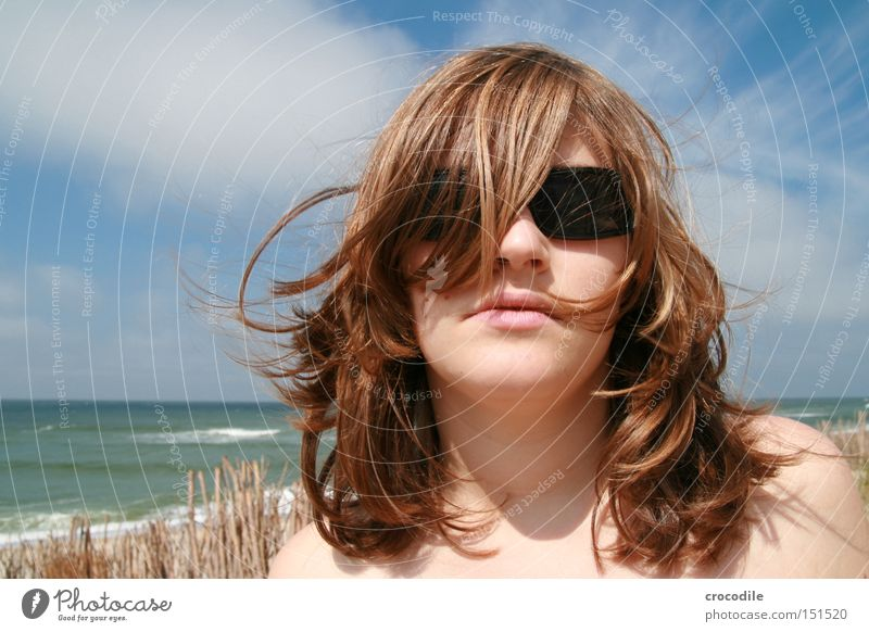 Woman Beautiful Ocean Beach Clouds Hair and hairstyles Mouth Sand Waves Wind Lips Sunglasses Blow