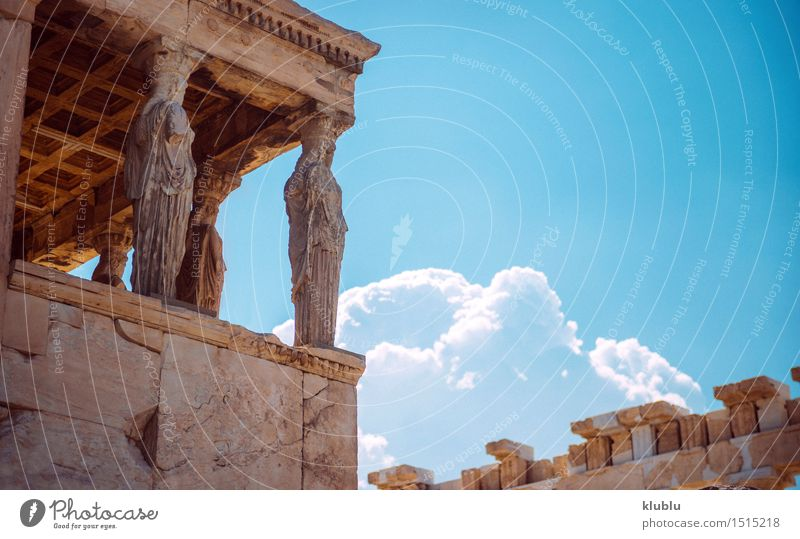 Greece, Athens, The ancient Porch of Caryatides Woman Sky Vacation & Travel Old Blue Landscape Adults Architecture Stone Tourism Europe Culture Historic
