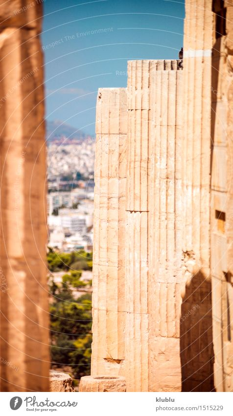 Greece, Athens, columns in Acropolis Sky Vacation & Travel City Old Summer Architecture Style Art Stone Design Tourism Europe Culture Historic