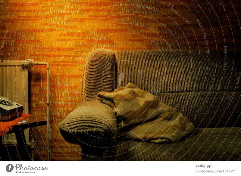 sabine sabine sabine Sofa Coach Cushion Living room Flat (apartment) Private Wallpaper Retro Furniture Made for TV Dame TV lamp TV station Backrest Cloth
