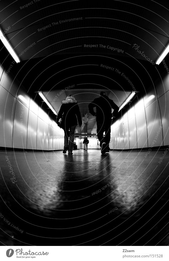 gang Going Human being Tunnel Black & white photo Glittering Dark London Underground 3 Middle Loneliness Dynamics Light To go for a walk Train station