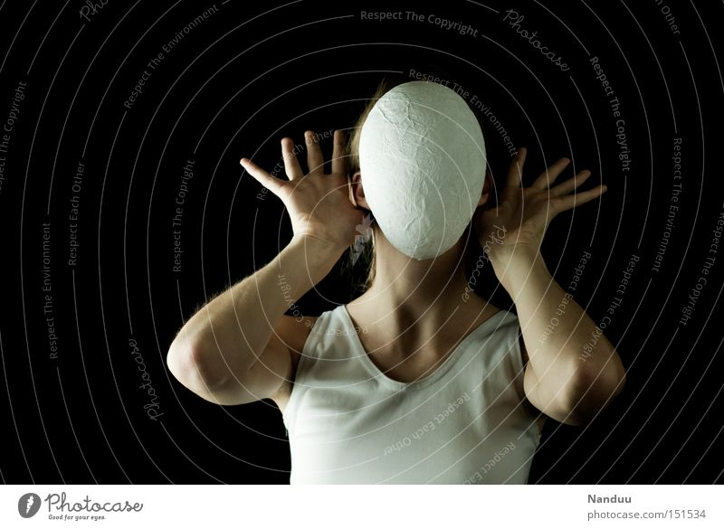 Human being Hand White Calm Sadness Fear Communicate Mask Listening Panic Anonymous Loud Faceless To be silent Oppressive