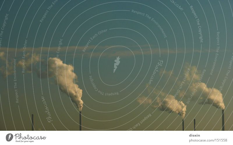 Sky Environment Dirty Energy industry Electricity Industry Fear of the future Exhaust gas Chimney Environmental protection Climate change Carbon dioxide