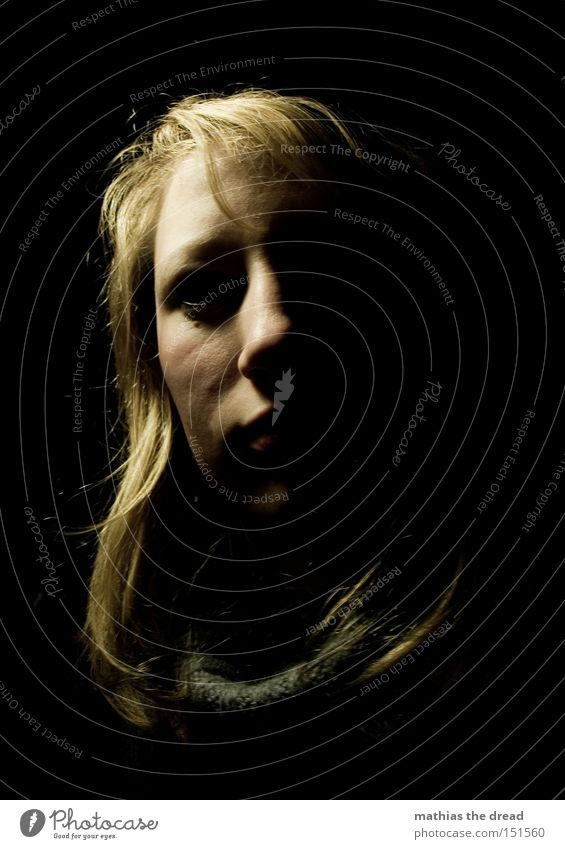 Woman Face Black Loneliness Dark Head Sadness Fear Grief Transience Panic Horror Frightening Negative