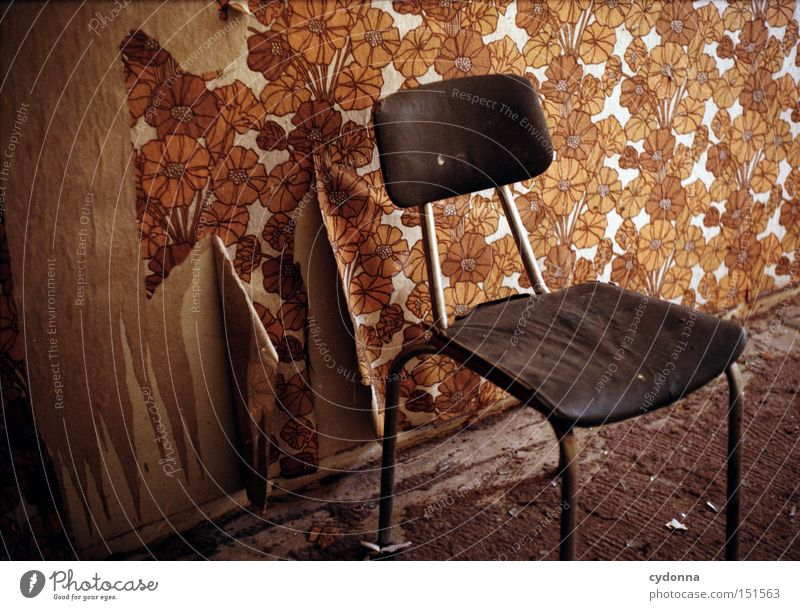 Wall (building) Room Time Retro Chair Living or residing Transience Wallpaper Derelict Furniture Decline Past GDR Nostalgia Destruction Remainder