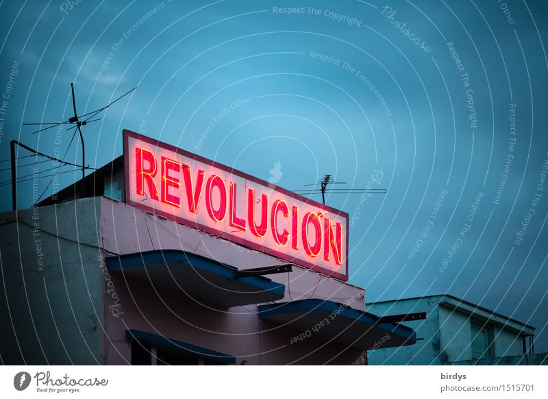 Casa de la Revolucion Sky Clouds Night sky Santiago de Cuba province House (Residential Structure) Neon sign Characters Illuminate Exceptional Exotic Together