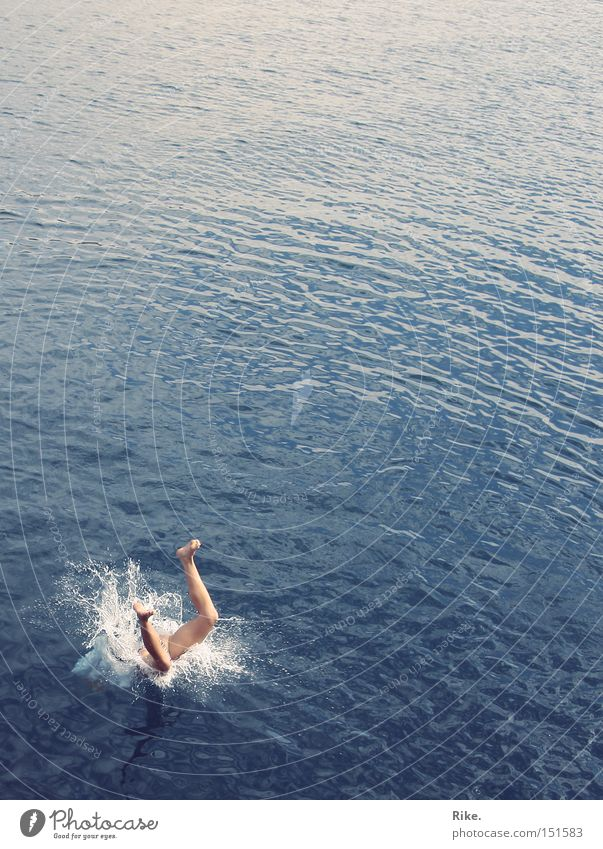 Blue Water Vacation & Travel Summer Ocean Joy Playing Jump Legs Swimming & Bathing To fall Dive Inject Go under Hop