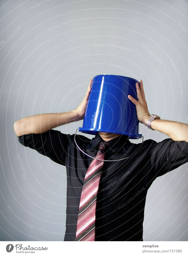 Oh, boy! Loser Career Unemployment Human being Man Adults Head 1 Shirt Tie Shame Stress Creativity Bucket Needy Colour photo Copy Space top Isolated Image Hide