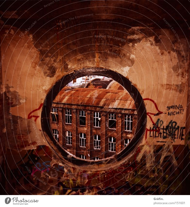Window Building Graffiti Dirty Industry Round Vantage point Factory Broken Transience Derelict Story Destruction Staircase (Hallway) Dismantling Hannover