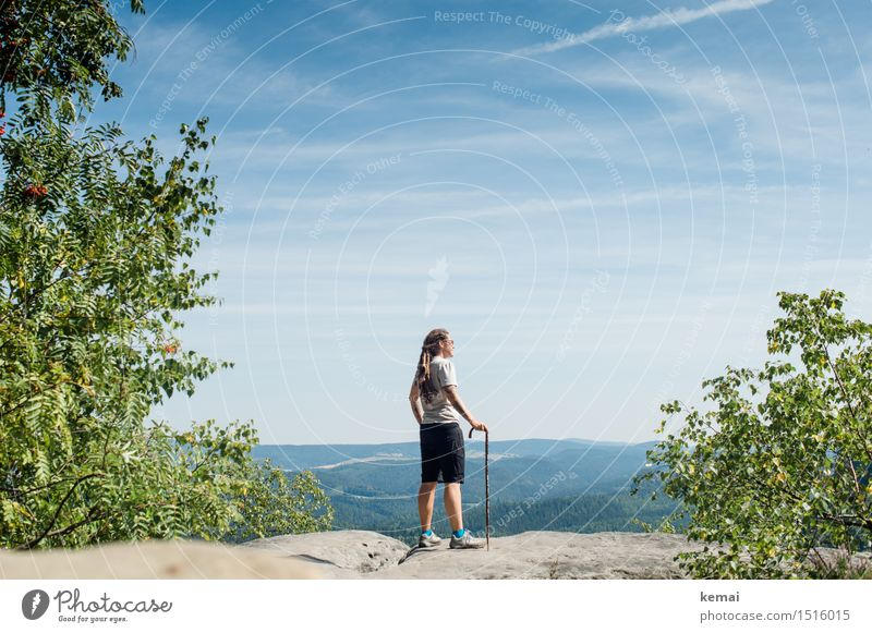 Human being Sky Nature Summer Relaxation Landscape Clouds Far-off places Mountain Adults Warmth Life Feminine Rock Leisure and hobbies Hiking