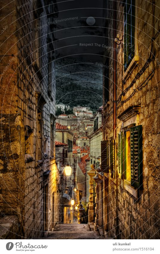 Dubrovnik at night HDR Tourism Trip Sightseeing City trip Summer Croatia Europe Small Town Port City Downtown Old town Deserted House (Residential Structure)