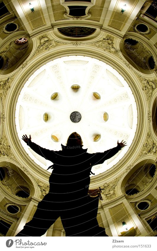 uprising Silhouette Round Domed roof Light Stand Man Human being Looking Easygoing Shows Architecture baroque Long exposure lanzeit exposure Stage play