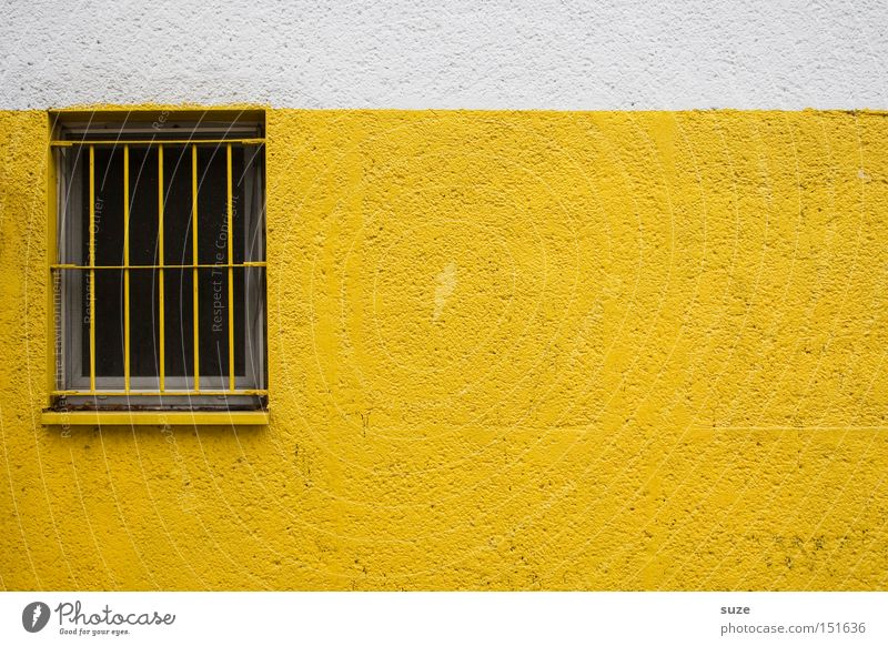 Swedish curtains II Wall (barrier) Wall (building) Facade Window Yellow Grating Plaster Safety Colour photo Multicoloured Exterior shot Deserted