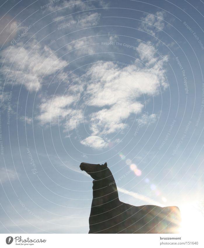 Sky Clouds Horse Monument Landmark Duesseldorf Lens flare Cirrus Sculpture The horse tamer