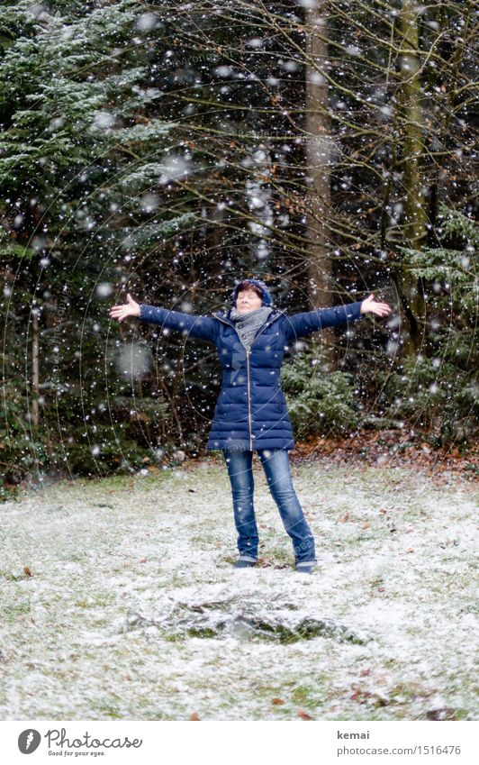 Human being Woman Nature Joy Winter Forest Cold Adults Life Senior citizen Meadow Snow Feminine Style Lifestyle Playing