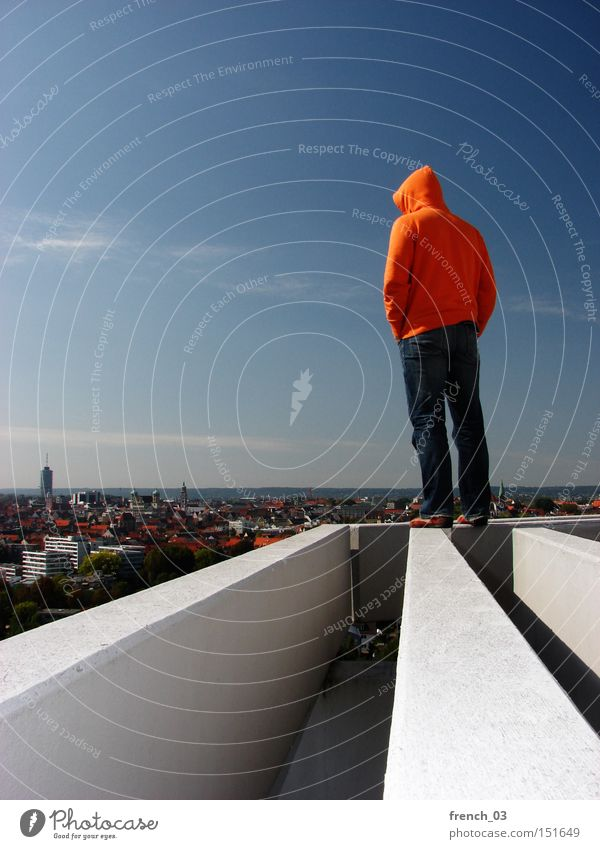 Human being Sky Freedom Building Think Orange Horizon Concrete Tall Future Stand Might Roof Clarity Hooded (clothing)
