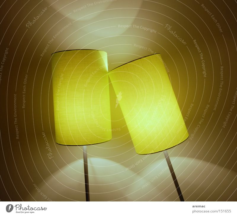 Yellow Lamp Together Lighting In pairs Technology Cable Things Living room Lean Installations Electrical equipment