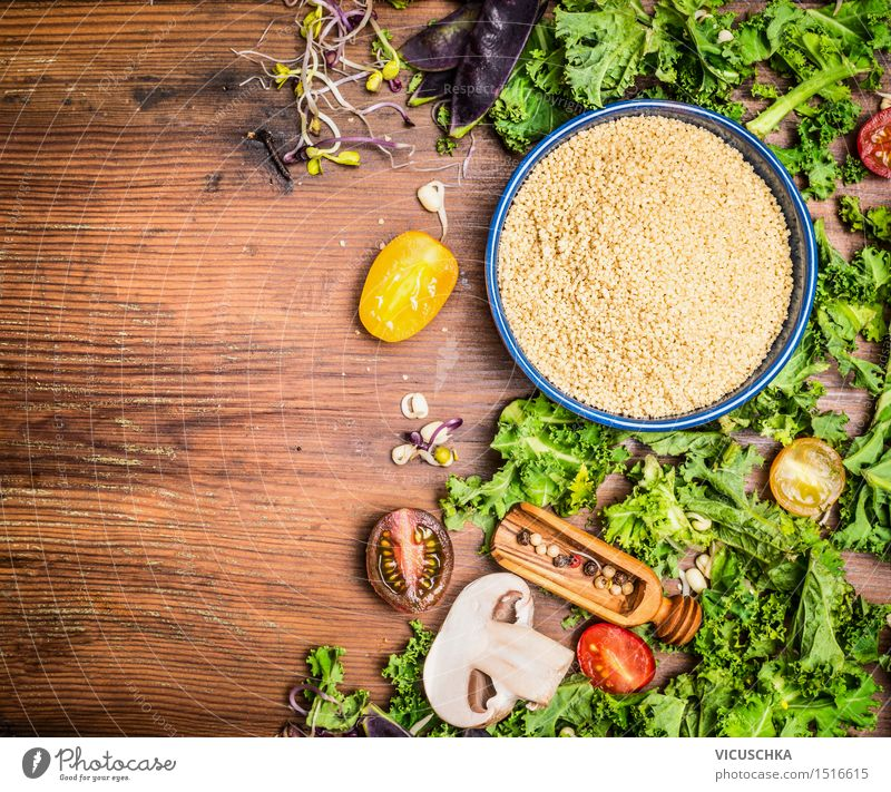 Couscous with kale and vegetables Ingredients for cooking Food Vegetable Lettuce Salad Grain Herbs and spices Nutrition Lunch Dinner Organic produce