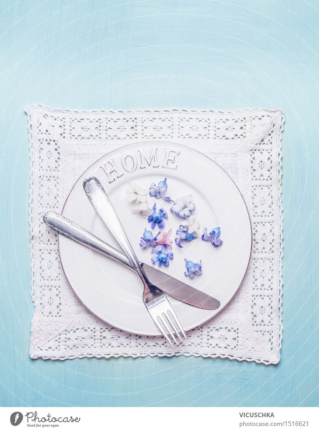 Table setting with cutlery and flowers Nutrition Lunch Banquet Crockery Plate Cutlery Knives Fork Elegant Style Flat (apartment) Interior design Decoration
