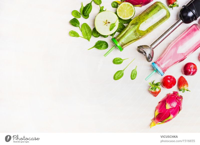 Green and red bottled smoothie with fresh ingredients Food Fruit Nutrition Breakfast Organic produce Vegetarian diet Diet Beverage Cold drink Juice Longdrink