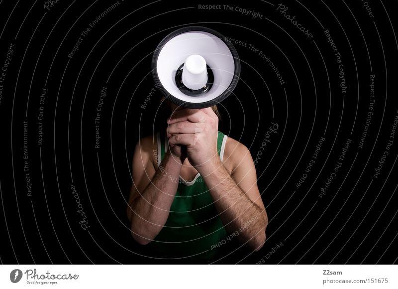 Man Head Communicate Scream To hold on Loud Megaphone Volume Speaking tube Squaller