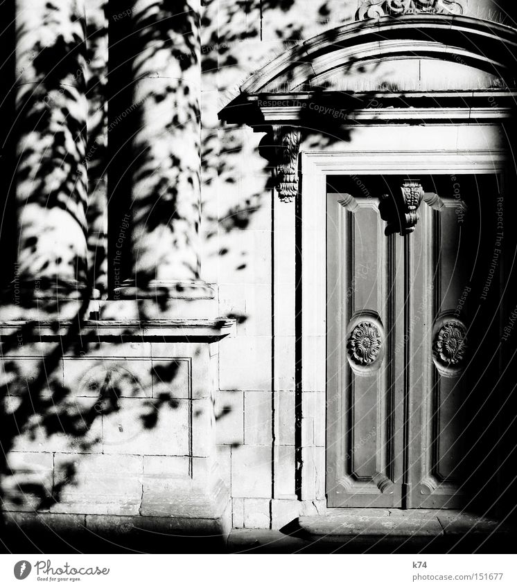 puerta Door Gate Portal Entrance Old Column Light Shadow Tree Wooden door Decoration Curlicue Architecture Black & white photo Front door
