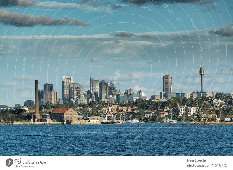 Sydney CBD Vacation & Travel Tourism Far-off places City trip Ocean Island Waves Sky Clouds Summer Beautiful weather Pacific Ocean Downtown Port City Skyline