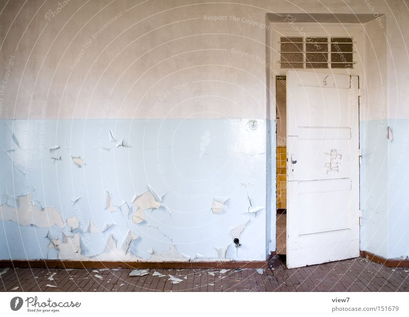 light blue Door Wall (building) Fashioned Wallpaper Pattern Wood Floor covering Ground Hallway Wooden floor Parquet floor Colour Dye Detail Derelict