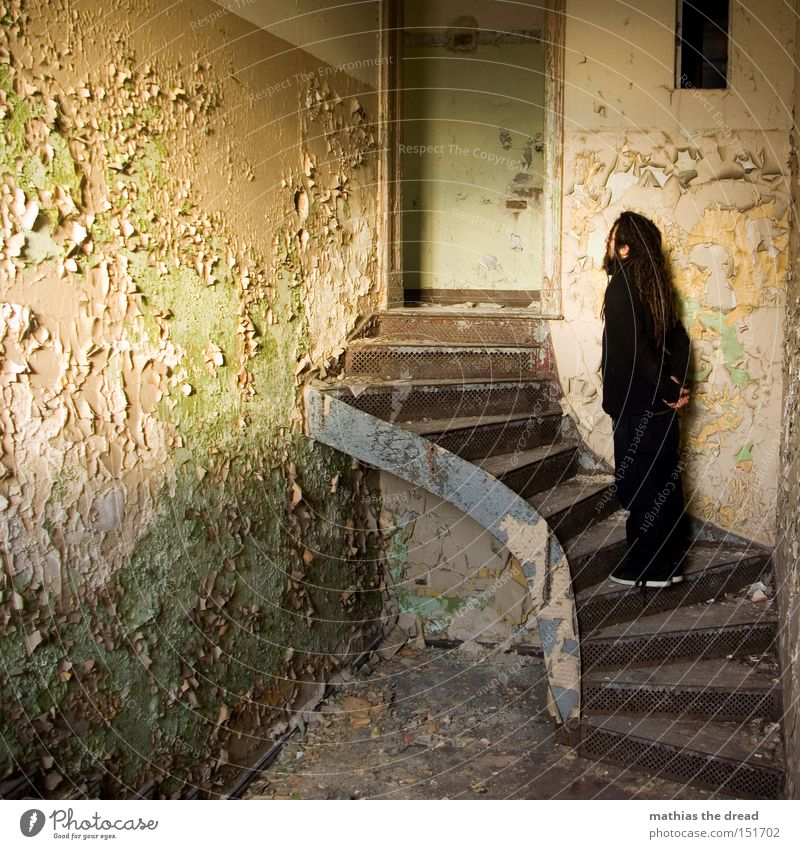 climber Stairs Old Loneliness Stand Shaft of light Sunlight Colour Dye Bursting Shabby Line Room Dusty Wait Derelict Man Beautiful Dirty