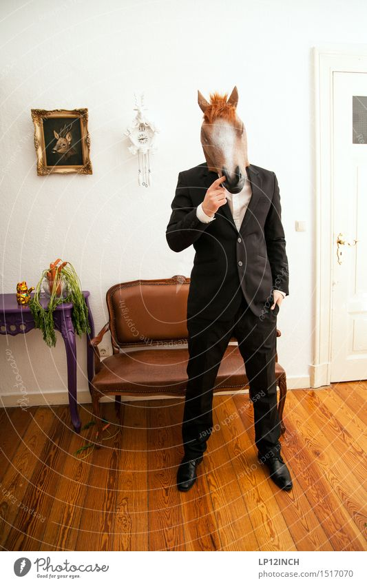 LP. HORSEMAN. XVIII Elegant Style Event Going out Carnival Hallowe'en Masculine Man Adults 1 Human being Fashion Suit Animal Horse Eroticism Town Crazy Black