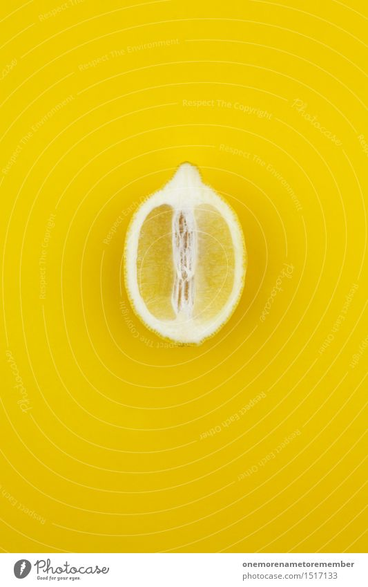 Jammy lemon on yellow Art Esthetic Gaudy Yellow Colour Intensive Lemon Lemon yellow Lemon juice Slice of lemon Vitamin C Healthy Eating Vitamin-rich