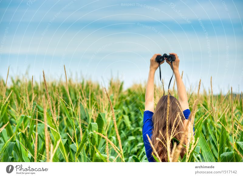 Woman Holding A Binocular In The Field Sky Nature Vacation & Travel Landscape Adults Grass Lifestyle Horizon Wild Free Idea Wanderlust Conceptual design Wheat