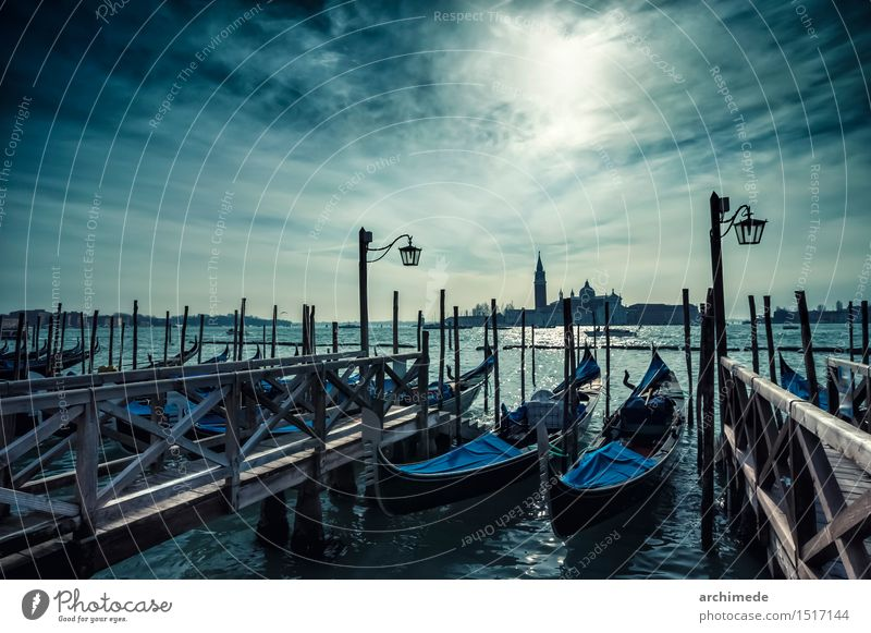 Venice Sky Vacation & Travel City Old Ocean Clouds Watercraft Tourism Transport Church Europe Italy Jetty World heritage Drop anchor