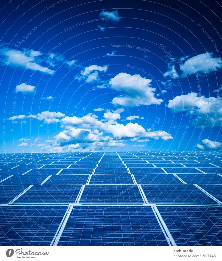 Photovoltaic panel Summer Sun Science & Research Industry Technology Environment Nature Plant Sky Clouds Climate Grass Modern Clean Blue Green Protection Energy