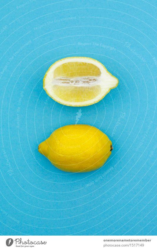 Jammy lemon on blue Art Work of art Esthetic Lemon Lemon yellow Lemon juice Lemon peel Slice of lemon Complementary colour Blue Yellow Gaudy Design Distinctive