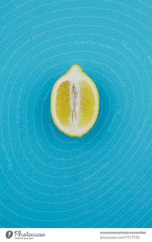 Jammy lemon half on blue Art Work of art Esthetic Lemon Citrus fruits Fruit Lemon yellow Lemon juice Lemon peel Slice of lemon Yellow Blue Vitamin-rich