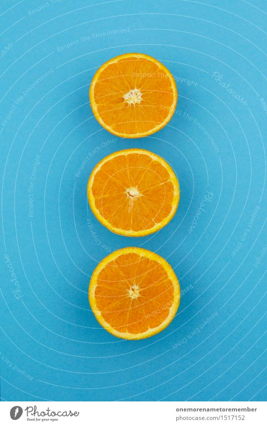 Jammy Orange Triple on Blue Art Work of art Esthetic Orange juice Orange peel Orange slice Orange tea 3 Row Symmetry Division Contrast Complementary colour