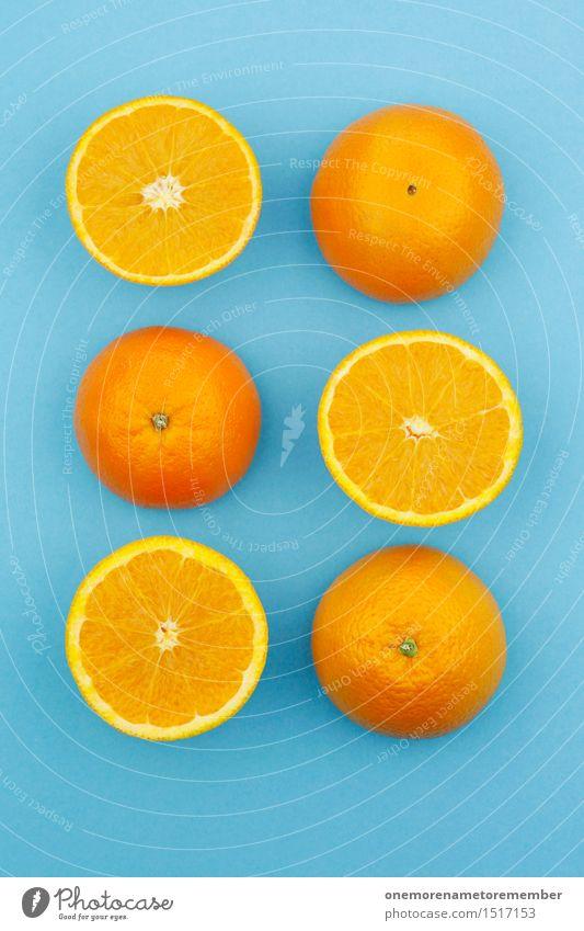 Jammy Oranges on Blue Work of art Esthetic Orange juice Orange peel Orange slice Complementary colour Contrast Delicious Food Vitamin-rich Vitamin C