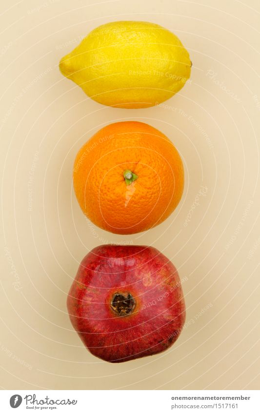Jammy Lemon Orange Pomegranate Gradient Art Work of art Esthetic Fruit Selection Beige Delicious Healthy Eating Vitamin-rich Yellow Red Colour photo
